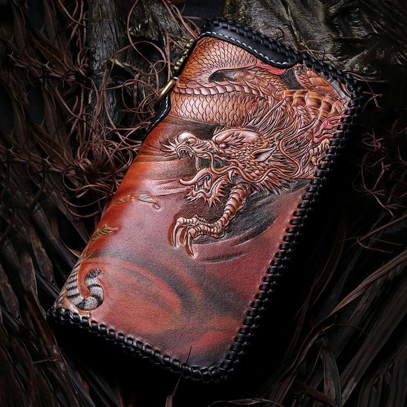 9d233c0cb2 Handmade Leather Tooled Chinese Dragon Mens Chain Biker Wallet Cool ...
