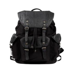 Fashion Canvas Leather Mens Backpack School Backpack Black Canvas Travel Backpack For Men