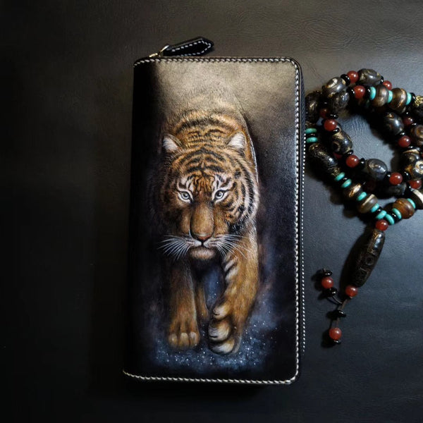 Badass Black Leather Men's Tiger Long Biker Wallet Handmade Tooled Zipper Long Wallets For Men