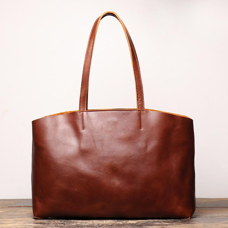 Vintage Mens Womens Leather Large Brown Tote Handbag Shoulder Tote Purse Tote Messenger Bag For Men