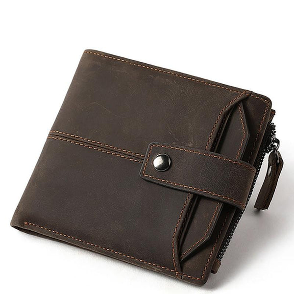 RFID Brown Leather Men's Small Wallet Short Wallet Cool Bifold Wallet For Men