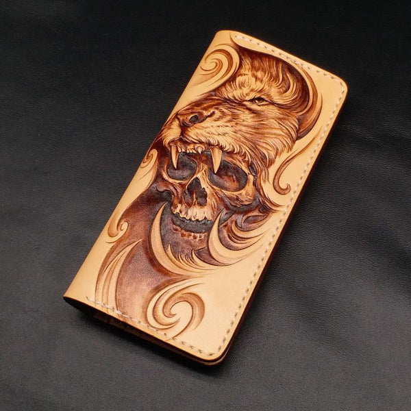 Beige Handmade Tooled Lion Skull Leather Mens Long Wallet Bifold Clutch For Men