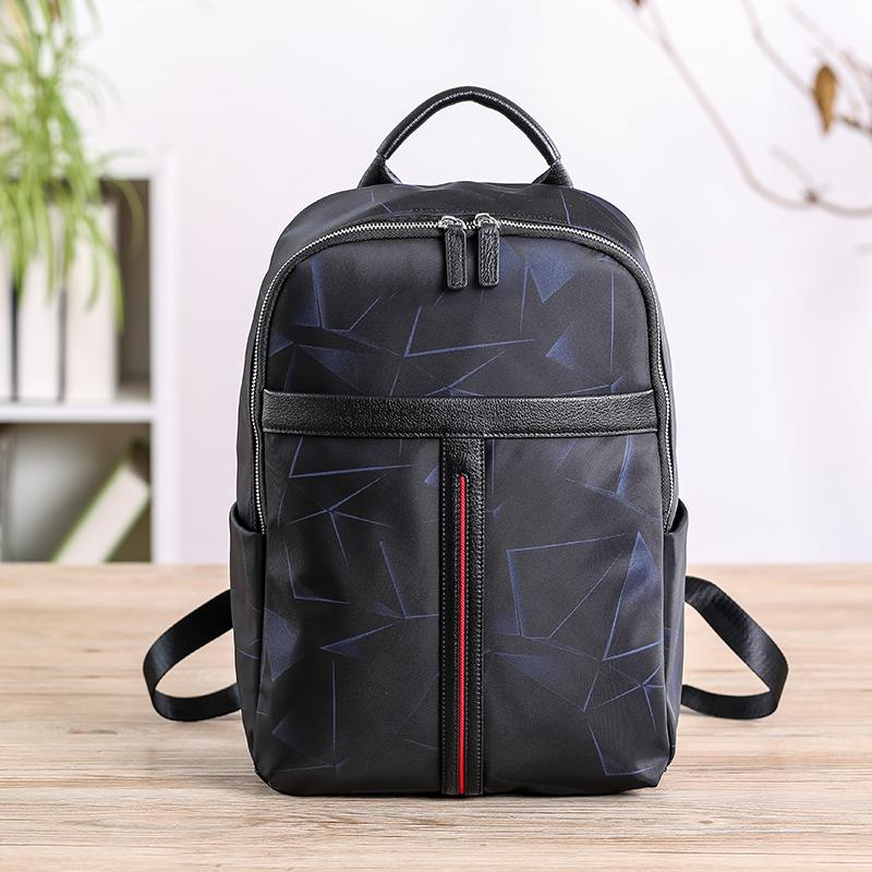 Cool Black Nylon Backpack Men's 14 inches Waterproof Backpack School Backpack For Men