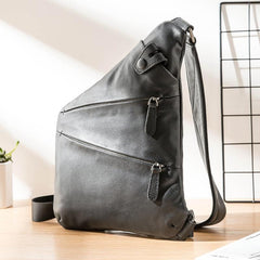 Badass Black Leather Men's Sling Bag Chest Bag Black One shoulder Backpack Bundy Bag For Men