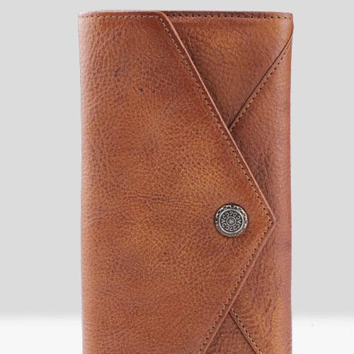 Handmade Leather Mens Cool Long Leather Wallet Bifold Envelope Clutch Wallet for Men