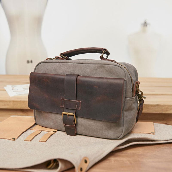 476215ea6c86 Mens Canvas Gray Cool Messenger Bag Side Bag Canvas Handbag for Men