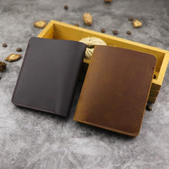 Cool Leather Mens Small Vertical Bifold Wallet billfold Wallet Horizontal Front Pocket Wallets for Men