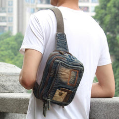 Denim Denim Blue Mens Small Fanny Pack Waist Bag Blue Hip Bag Bum Bag For Men