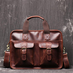 Red Brown Leather Mens 14 inches Large Laptop Work Bag Handbag Briefcase Shoulder Bags Business Bags For Men