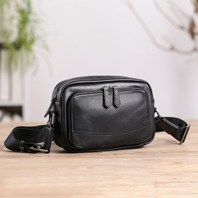 Casual Black Leather MENS Small Side Bags Black Messenger Bag Leather Courier Bag For Men