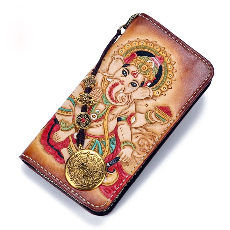 Handmade Leather Ganesha Mens Tooled Long Chain Biker Wallet Cool Leather Wallet With Chain Wallets for Men