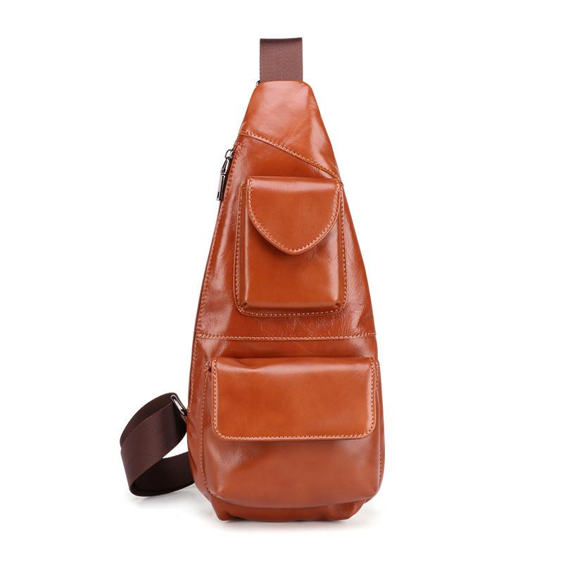 Dark Brown MENS LEATHER One Shoulder Backpack Sling Bag Coffee Chest Bag For Men