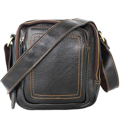 Black Cool Leather Mens Small Postman Bag Vertical Messenger Bag Black Courier Bags For Men