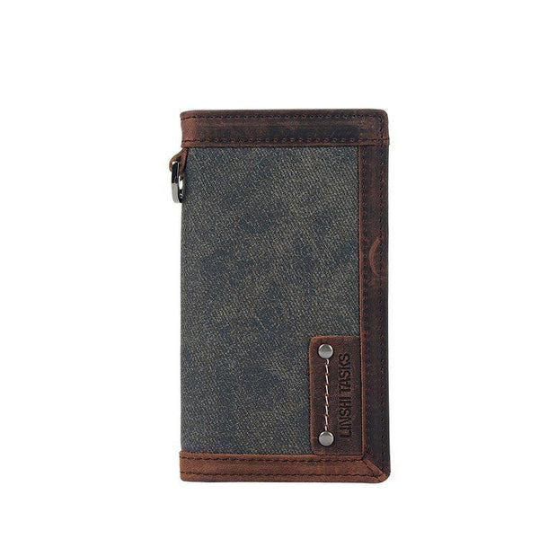 Casual Gray Canvas Leather Men's Long Wallet Bifold Cards Wallet Long Wallet For Men