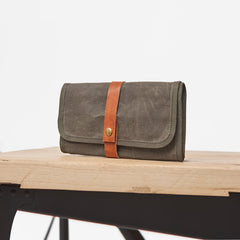 Cool Canvas Large Mens Trifold Clutch Wallet Canvas Long Casual Clutch Purse For Men