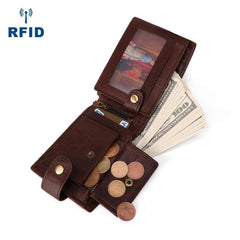 Small Trifold Leather Mens Wallet Brown Wallet Trifold Wallet Driver's License Wallet for Men