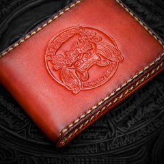 Handmade Leather License Wallets Mens Short Wallet Cool Leather Wallet Small Wallet for Men
