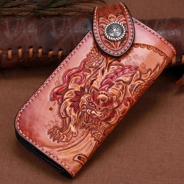 Handmade Leather Kylin Mens Tooled Long Biker Wallet Cool Leather Wallet With Chain Wallets for Men