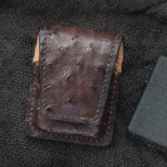 Cool Coffee Leather Mens Zippo Lighter Cases With Belt Loop Handmade Lighter Holders For Men