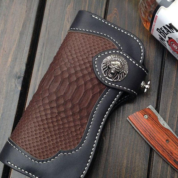 Handmade Leather Biker Wallet Mens Cool Chain Wallet Trucker Wallet with ChainLong