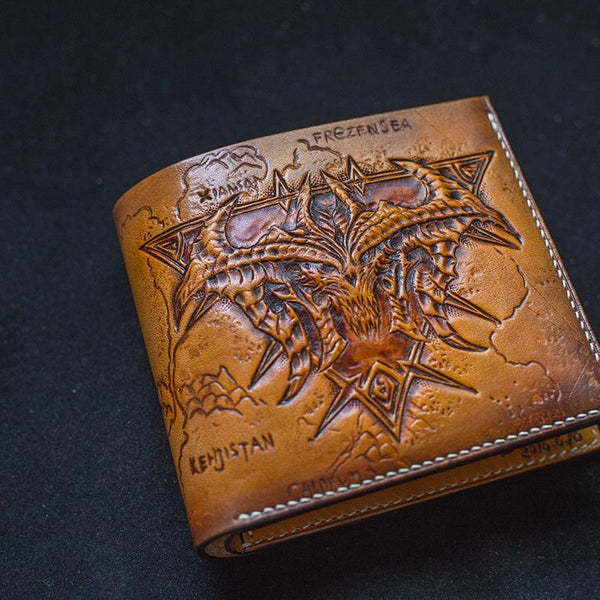 Handmade Leather Diablo Skull Tooled Mens Short Wallet Cool Slim Wallet Biker Wallet for Men