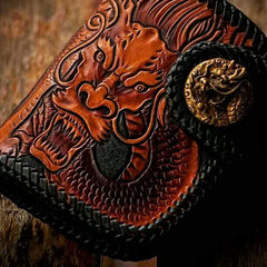 Handmade Leather Tooled Chinese Dragon Biker Wallet Mens Cool billfold Chain Wallet Trucker Wallet with Chain