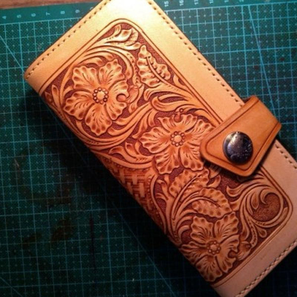 Handmade Tooled Floral Mens Leather Long Wallet Cool Long Wallet for Men