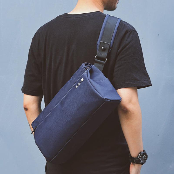Fashion Oxford Cloth PVC Men's Black Sling Bag Chest Bag Blue One Shoulder Backpack For Men