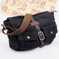 Canvas Black Mens 10 inches Postman Bag Canvas Messenger Bags Khaki Courier Bag For Men
