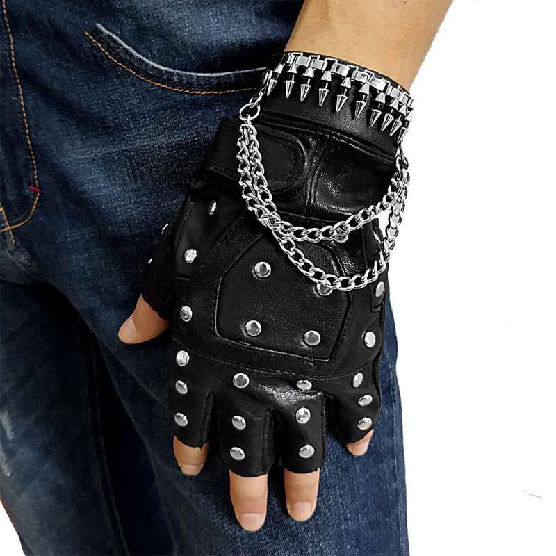 Cool Mens Punk Black Leather Half-Finger Rock Gloves Motorcycle Gloves Biker Gloves For Men