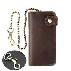 Cool Mens Leather Biker Chain Wallet Chain Wallet Long Biker Wallet for Men