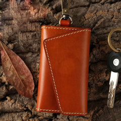 Handmade Leather Mens Cool Key Wallet Car Key Holder Car Key Case for Camel Men