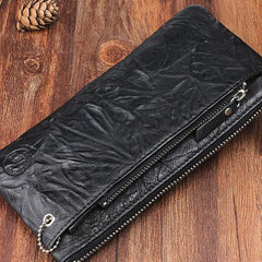 Handmade Leather Mens Cool Long Leather Wallet Detachable Clutch Wallet for Men