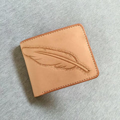 Handmade Leather Mens Tooled Feather Cool Short Leather Wallet Men Small Wallets Bifold for Men
