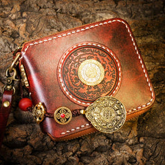 Handmade Leather Mens Chain Short Biker Wallet Cool Leather Wallet Small Wallets for Men