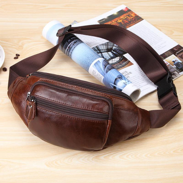 Vintage Leather Brown Men's Fanny Pack Chest Bag Waist Bag For Men