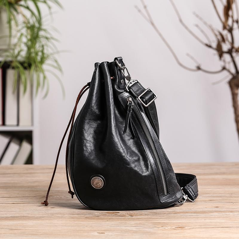 Cool Black Leather Men's Sling Pack Chest Bag One shoulder Backpack Crossbody Pack For Men