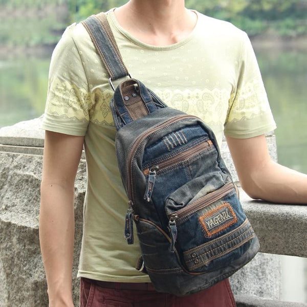 Denim Vintage Blue Mens Large Sling Bag Chest Bag Jean One Shoulder Backpacks For Men