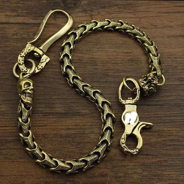 Badass Brass 18'' Copper Skull Chain Pants Chain Wallet Chain Motorcycle Wallet Chain for Men