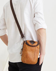 Cool Leather Mens Belt Pouch Waist Bag BELT Phone BAG Mini Shoulder Bag For Men