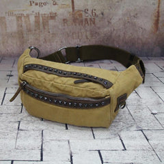 Canvas Mens Chest Bag Khaki Waist Bags Hip Bag Black Canvas Fanny Pack For Men