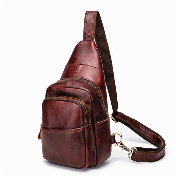 Red Brown Cool LEATHER MENS 8 inches Sling Bag One Shoulder Backpack Brown Chest Bag For Men