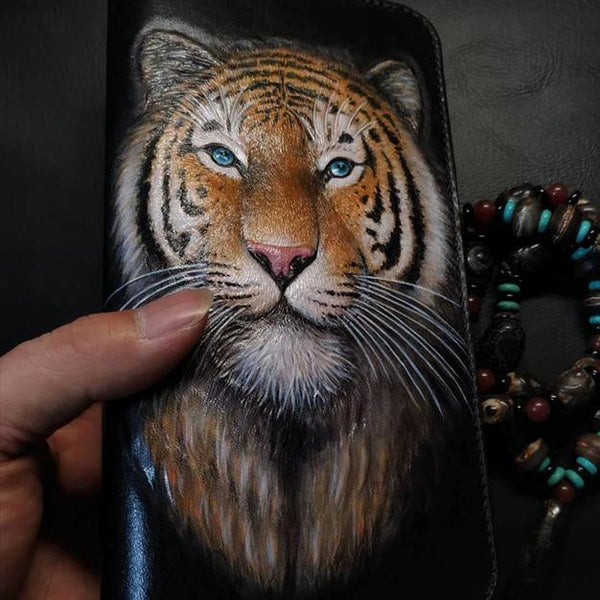 Badass Black Leather Men's Tiger King Long Biker Wallet Handmade Tooled Zipper Long Wallets For Men