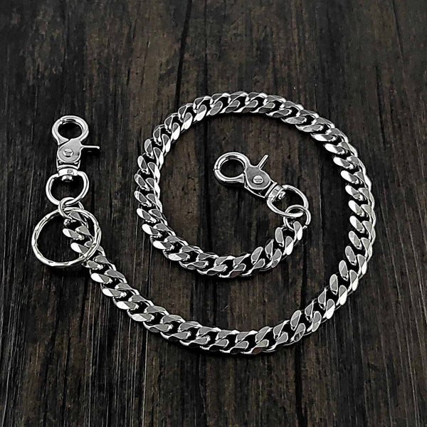 20'' SOLID STAINLESS STEEL BIKER SILVER WALLET CHAIN LONG PANTS CHAIN SILVER JEAN CHAIN FOR MEN