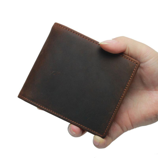 RFID Leather Mens Small Bifold Wallet Short Wallets Front Pocket Wallets for Men
