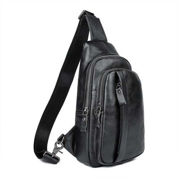 Badass Black Leather Backpack Men's 8-inch Sling Bag Chest Bag One shoulder Backpack Sports Bag For Men