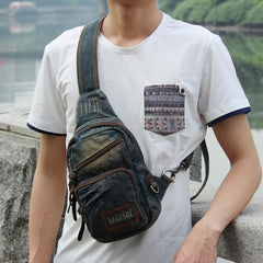 Fashion Denim Blue Mens Sling Bag Chest Bags Denim Sling Pack One Shoulder Backpacks For Men