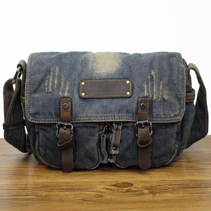 Denim Blue Mens Small Courier Bag Messenger Bag Blue Jean Postman Bag For Men