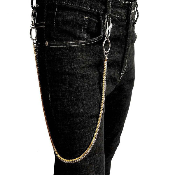 29'' SOLID STAINLESS STEEL BIKER SILVER Gold WALLET CHAIN LONG PANTS CHAIN PUNK JEAN CHAINS FOR MEN