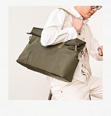 Cool Black Nylon Mens 15 inches Large Messenger Bag Briefcase Handbag Nylon Travel Green Shoulder Bag for Men